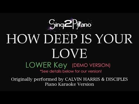 How Deep Is Your Love (Lower Key - Piano Karaoke Demo) Calvin Harris & Disciples