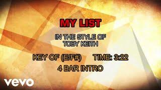 Toby Keith - My List (Karaoke)